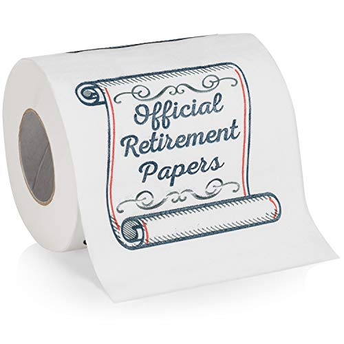 Retirement Papers Toilet Paper - Funny Retirement Gift - For Retired Men, Women, Coworkers, Employees, Boss, Friend, Colleague, Retirement Party