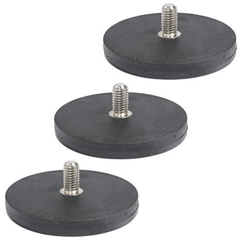 3 Stück Neodym Magnete Gummiert D 66mm Mit M8 Außengewinde 22 KG Zugkraft Flachgreifer Magnet Scheibe Topfmagnet Gummi Runde Magnete mit Gewinde für Schrauben Öse oder Haken