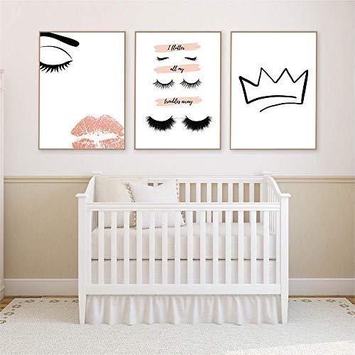 zszy Nordic Lashes Crown Lips Fashion Wall Art Acquerelli Poster e Stampe Ciglia Immagini Decorative per Ragazze Camera da Letto Home Decor-40x60cmx3 Pezzi Senza Cornice