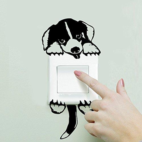 PULABO - Pegatina de conversión de estilo negro para perro, cachorro, decoración del hogar, para habitación de niños, decoración de habitación de mascotas, rentable y de buena calidad creativa