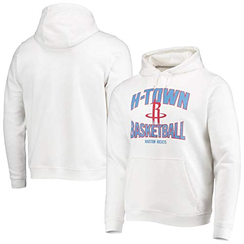 SHENXIAOMING 2021 Utah Jazz Mitchell Houston Rockets Sudadera Hombre, Pull-Over Sudadera con Capucha De Manga Larga, Lavable A Máquina, Regalo para Fanáticos del Baloncesto,Blanco,XL