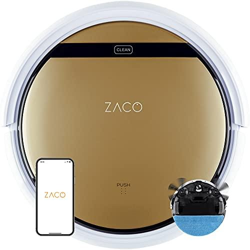 ZACO Robot aspirapolvere e lavapavimenti V5x con WiFi, Alexa, Google, App, 2 in 1 Aspira e Lava intelligente, autoricarica per pavimenti, tappeti, Aspiratore automatico per cani e peli di animali