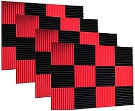 """48 بسته سیاه قرمز 1 """"x 12"""" x 12 """"استودیوی گوه آکوستیک پانل های دیواری جذب صدا"""