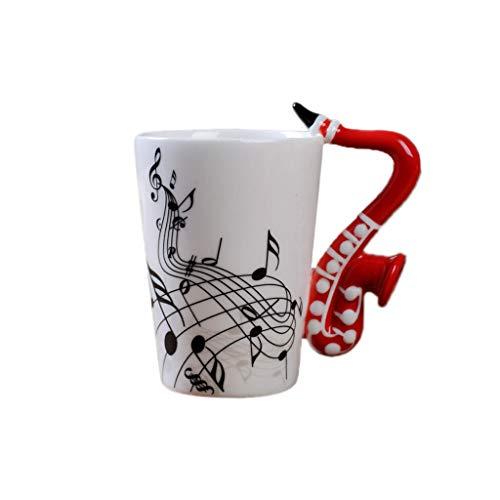 llwei258 Saxofoon muziek unieke greep kunst muzikale notities houdt koffiemelk keramische beker R 1