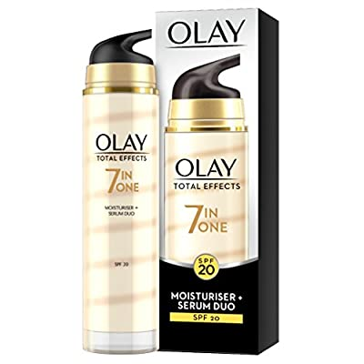Olay Total Effects 7-in-1 Anti-Ageing Moisturiser + Serum Duo with SPF20, Niacinamide, Vitamin C and E, 40 ml