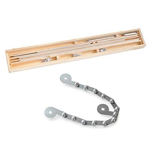 Winkelschablone inklusive Rundungselement/Treppen-Schablone/Treppenlehre im Holzkoffer