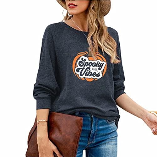 ZFQQ Otoño/Invierno Camiseta de Manga Larga con Estampado Multicolor de Calabaza de Halloween para Mujer