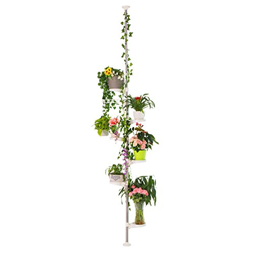 BAOYOUNI 7-Layer Indoor Plant Stands Spring Tension Pole Metal Flower Display Rack Space Saver Corner Floral Pot Hanger Shelf, Ivory