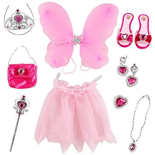 deAO Disfraz de Hada Juego Infantil de Imitación Princesa de Cuento de Hadas Conjunto Incluye Alas de Mariposa, Falda Tutú, Zapatos, Joyas, Tiara, Barita Mágica y Bolso de Mano (Rosa)