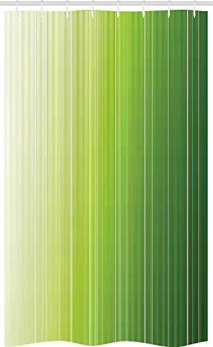 ABAKUHAUS Salie Douchegordijn, Ombre Color Stripe Digital, voor Douchecabine Stoffen Badkamer Decoratie Set met Ophangringen, 120 x 180 cm, Green Pale Groen Wit