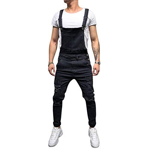 Metermall Fashion For Men Distressed Denim Carpenter Overalls Bib Jumpsuits Moto Biker Jean Pants
