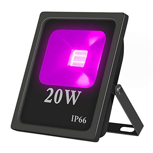 UV LED Flutlicht 20W IP66 Wasserdicht, Hohe Leistung UV disco schwarzlicht 85V-265V AC für Aushärtung, Kleber, Blacklight,Ausstellungs Center,Gemälde Angeln,Aquarium (20)