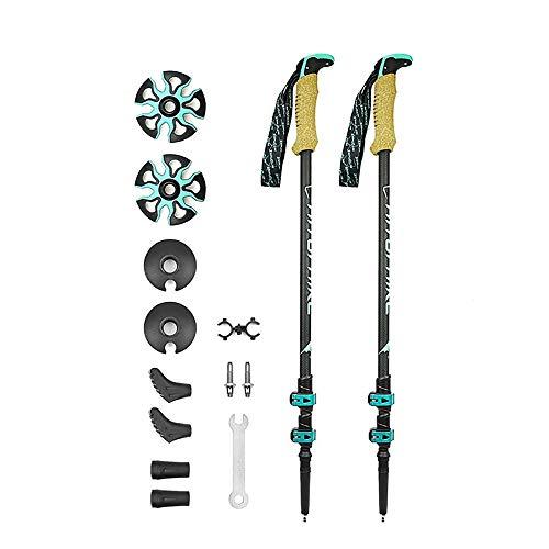 MIAOMIAOGI 195g/pc koolstofvezel externe quick lock Trekking paal wandelen telescoop stok nordic walking stick Schieten Crutch
