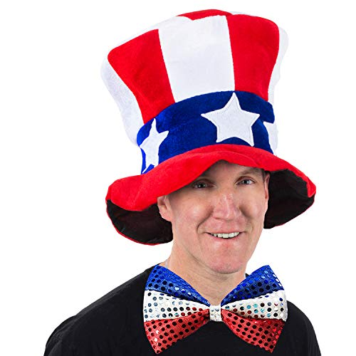 Tigerdoe Uncle Sam Hat and Bow Tie - Top Hat -2 Piece American Flag Costume - Patriotic Accessories - Forth of July Supplies