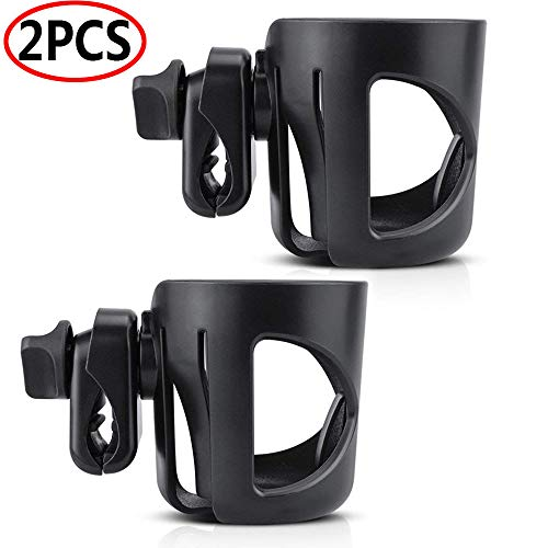 Universal Cup Holder, Stroller Cup Holder, 360 Degrees Universal Rotation Adjustable Attachable Bottle Holder Fit for Most Strollers Wheelchairs Rollators Walkers Bicycles Carriage (2 Pack)