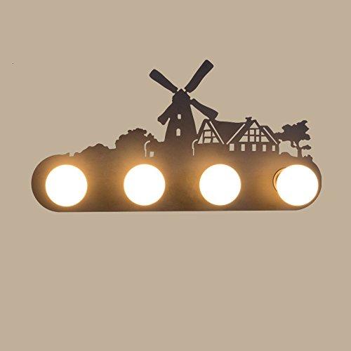 Retro mur industriel lampe lumière, le salon la chambre la personnalité du corridor avant miroir avec lampe, ampoule 60x 30cm,Moulin chambre,5 watt LED ampoule lumière chaude