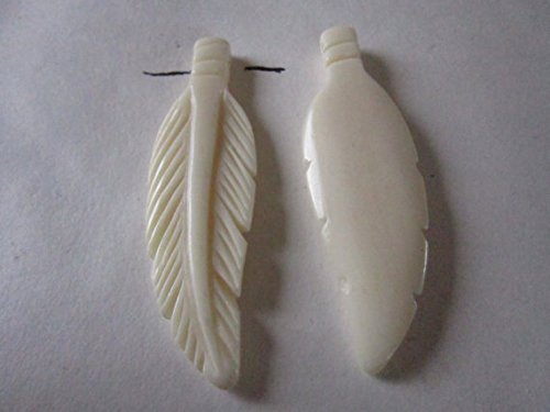 2 Carved Bone Feathers 2 3 4 Pendants Ch Buy Online In Albania At Desertcart