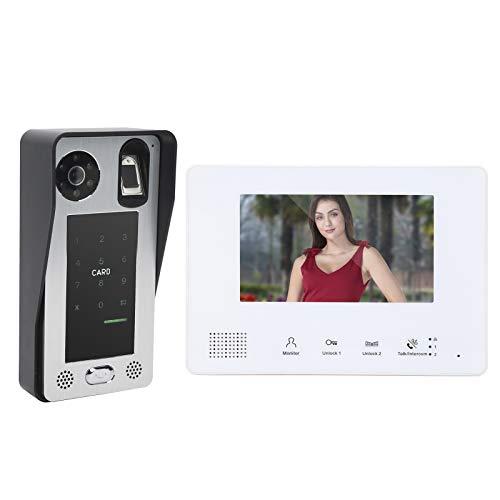 Timbre de video de 2 hilos, intercomunicador de videoportero, intercomunicador de timbre de tarjeta IC con contraseña de huellas dactilares, visión nocturna