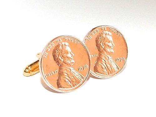 1975 40e anniversaire Motif Pièce de Monnaie 1 cent lincoln - 1 pour cent de 1975 un Bouton De Manchette 40 Ans