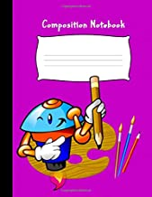 Composition Notebook: Pre-K Draw and Write Blank Story Paper Notebook Journal For Preschool and Kindergarten Kids: Each Page Divided For Creative ... Cartoon Character with Cute Pink Glossy Cover