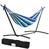 FDW Double Hammock with Space Saving Steel Stand Includes Portable Carrying Case