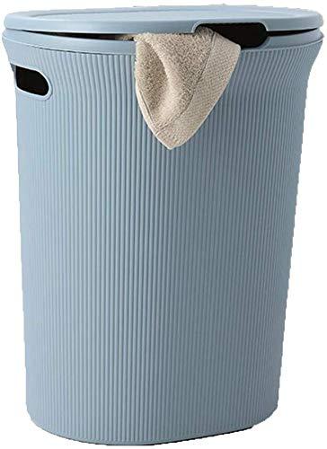 ZHFZD Gestreepte wasmand met deksel, dubbele greep voor eenvoudig dragen, uitneembare sorteermand met grote capaciteit 37 * 38cm blauw