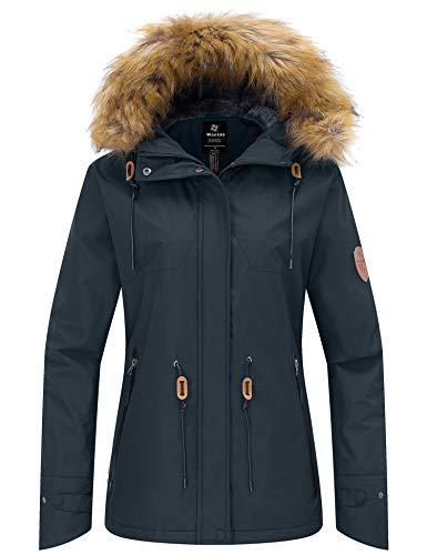 Wantdo Women's Winter Coats Mountain Skiing Jacket Softshell Snowboarding Coat Dark Gray S