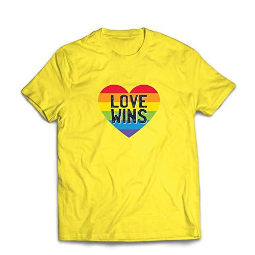 lepni.me Camisetas Hombre El Amor GANA, el Orgullo, el corazón del Arco Iris - Día de San Valentín (Small Amarillo Multicolor)