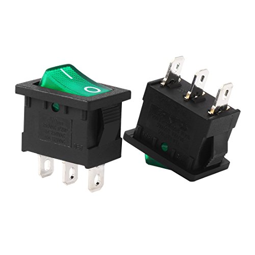 Price comparison product image uxcell 5Pcs AC 10A / 125V 8A / 250V SPST 3P 2 Position Green LED Light Boat Rocker Switch