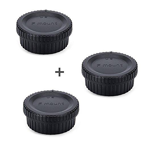 JJC Rear Lens Cap & Body Cap Cover JJC for Nikon F Mount D3500 D3400 D3300 D3200 D3100 D7500 D7200 D7100 D5600 D5500 D5300 D5200 D5100 D850 D810A D810 D800 D750 D500 D40 D5 D4s D4,etc -3 Pack