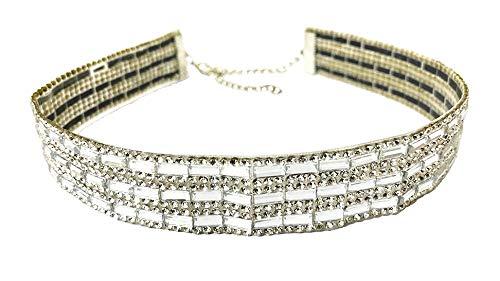 Collana girocollo color argento con cristalli, con chiusura a caldo, per feste e feste