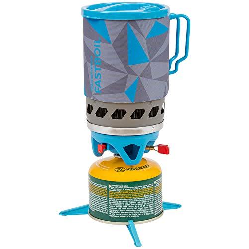 HIGHLANDER Réchaud de Camping à Lame Fastboil Mk3 de Brûleur Portable Compact avec Pot de 1,1 L - Idéal pour Les campeurs, la randonnée et la pêche (Bleu)