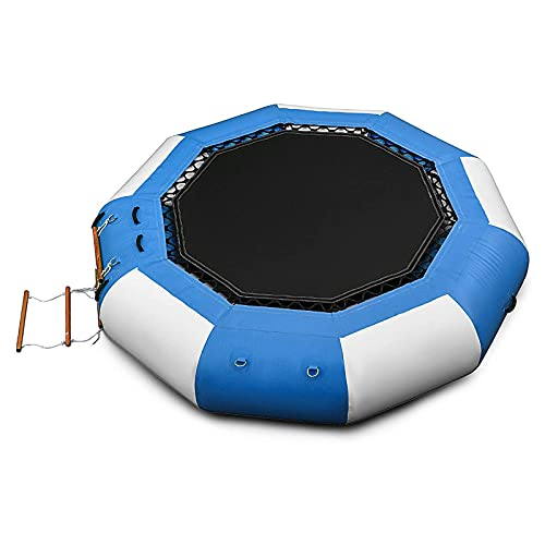 WEDSFC 13 Ft Inflatable Water Trampoline Bounce Swim Platform Inflatable Bouncer Jump Water Trampoline Bounce Swim Platform for Water Sports,with Escalator and Ladder for Water Sports,A,6.5FT