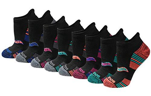 Saucony Women's Performance Heel Tab Athletic Socks (8 & 16 Packs), black, Shoe Size: 5-10