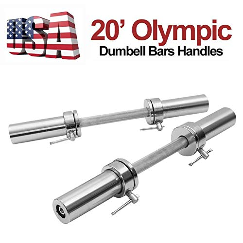 US Fast Shipment Dumbbell Handles Pair of Regular Dumbbell Handles with Star Collars Weightlifting Accessories Olympic Bar for Standard Weight Plates Holds 150lbs for Sport Workout Training Gym