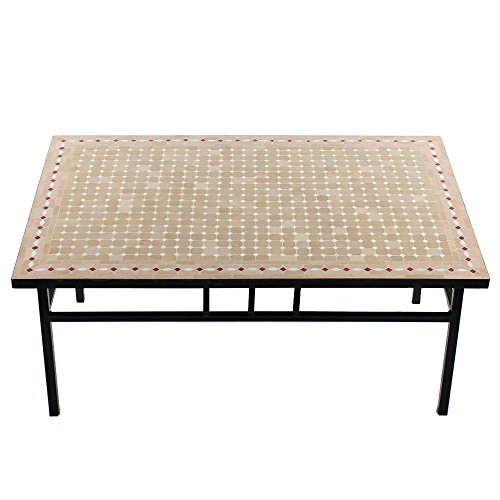 Albena Marokko Galerie Marokkaanse mozaïektafel 80x120 cm salontafel tuintafel tegeltafel mediterrane mozaïek - tafel oosters 80x120cm Yena: natuur/wit/rood.