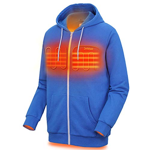 Heated Hoodie for Men and Women Heavyweight Fleece Hooded Sweatshirt (Unisex)(XLarge, Blue)