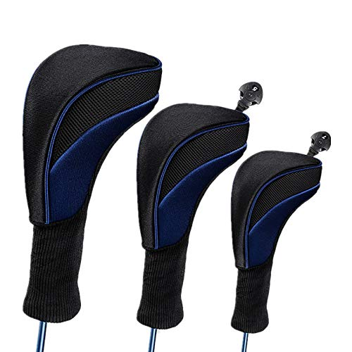 Golf Head Cover 3pc Set Golf Wood Club Headcovers with Interchangeable No Tag Novelty Durable Protective Case Fit Woods Clubs Blue