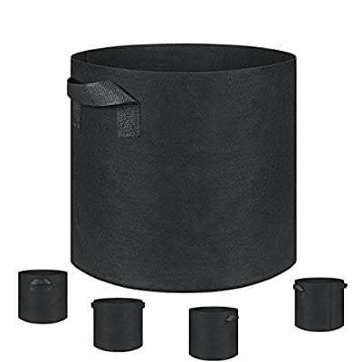 Grow Bags, Fabric Pots, 5-Pack Plantmate Flower Plant Hydroponic Fabric Planter with Handles