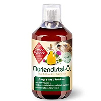 ChronoBalance® Huile de chardon-marie pour chiens - Complément alimentaire naturel - Favorise le métabolisme - Riche en vitamine E, oméga-6 et oméga-9 - 500 ml