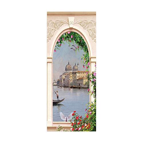tianhao Barco de Pesca en el río Art Paste Poster para decoración Dormitorio Moda DIY Etiqueta de Puerta 77 * 200cm