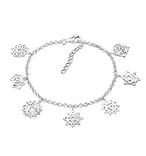 Nenalina plata pulsera de Mujer con 7 chakras 2 mm longitud 18 cm + 3 cm extensión 331990-900