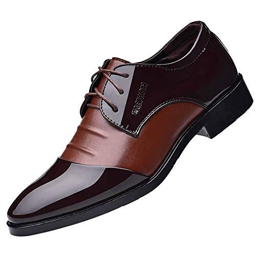 Skxinn Schnürhalbschuhe Für Männer, Herren Vintage Oxford Business-Schuhe Herrenschuhe Hochzeit Kunstlederschuhe Anzugschuhe Gr 38-47(Braun,47 EU)
