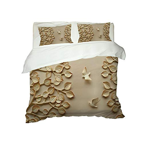 CJZYY 3D Duvet Cover Embossed leaves Printed Bedding Duvet Cover with Zipper Closure,3 Pieces (1 Duvet Cover +2 Pillowcases) Ultra Soft Microfiber Bedding -Double 200 X 200 cm