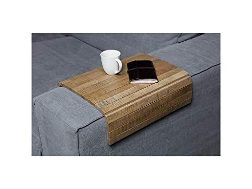 Flexibles Sofatablett/Ablage Eiche Antik Finish in Größe XL 36 x 45cm / Armlehnenschoner für Couch, Abstellplatz für Snacks und Getränke auf der Sofa Armlehne, flexibel in der Breite