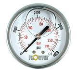 Flowfit hidráulico de 63mm Relleno de glicerina Medidor de presión 0?60PSI () 1/4BSP entrada trasera de 4bar