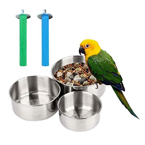 DBAILY Ciotole per Cibo Uccelli, 3pcs Acciaio Inox Pappagallo Alimentatore Tazze per Pappagalli con Supporto a Morsetto con 2pcs Pappagallo Posatoi Giocattolo per Fringuelli Piccoli Animali