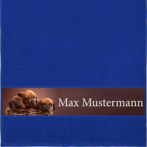 Manutextur Handtuch mit Namen - personalisiert - Motiv Tiere - Hunde - viele Farben & Motive - Dusch-Handtuch - Royalblau - Größe 50x100 cm - persönliches Geschenk mit Wunsch-Motiv und Wunsch-Name