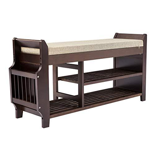 ZLELOUY Shoe Bench Shoe Rack Boot Organizer For Hallway Entryway 2-Tier Bamboo Cushion Storage Shelf