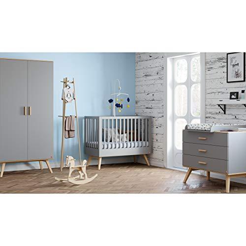 Chambre complète lit bébé 60x120 - commode à langer - armoire 2 portes Nautis - Gris